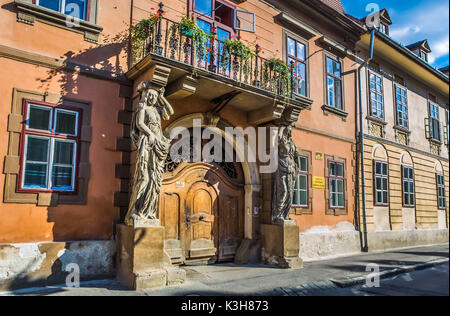 Romania, Sibiu City, Old Town street - Stock Photo