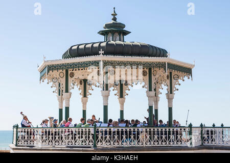 England, East Sussex, Brighton, Seafront Bandstand - Stock Photo