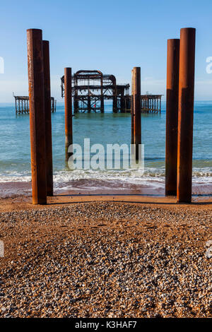 England, East Sussex, Brighton, West Pier - Stock Photo
