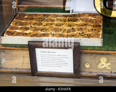 Chelsea or Sticky Buns in the window of Fitzbillies tea shop and restaurant in Cambridge UK - Stock Photo
