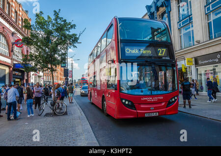 The number 27 red double decker London bus travelling from Camden Town high Street to Chalk Farm. - Stock Photo