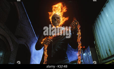 GR-859 – At night, in the presence of evil, die-hard stunt rider Johnny Blaze becomes the Ghost Rider , a - Stock Photo