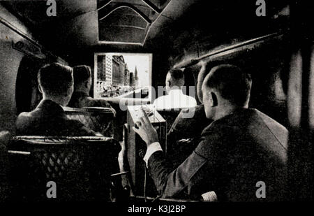 THE FIRST FILM PROJECTED IN AN AIRCRAFT while an eleven seat passenger hydroplane was flying at ninety miles an - Stock Photo