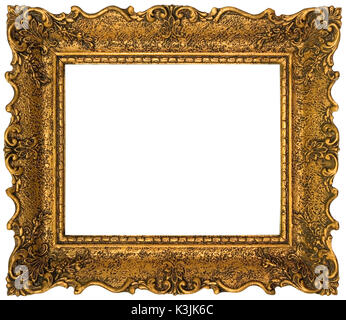 Empty Gilded Golden Picture Frame Cutout - Stock Photo
