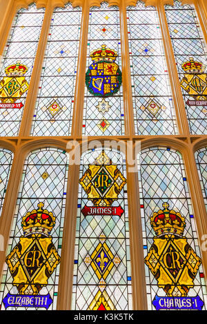 England, London, The City, St Andrew Undershaft Church, Stained Glass Window depicting Historical Royal Coats of - Stock Photo