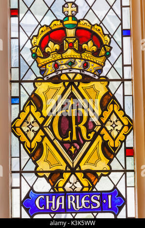 England, London, The City, St Andrew Undershaft Church, Stained Glass Window depicting Historical Royal Coat of - Stock Photo