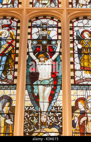England, London, The City, St Andrew Undershaft Church, Stained Glass Window depicting The Cruxifiction of Christ - Stock Photo