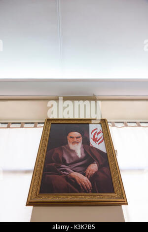 Iran, Tehran, National Museum of Iran, portrait of fomer religious leader, Ayatollah Khomeini - Stock Photo