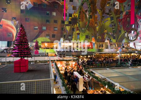 Netherlands, Rotterdam, Markthal foodhall, elevated interior view - Stock Photo