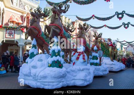 Christmas parade in Disneyland Paris Marne La Vallee - Stock Photo