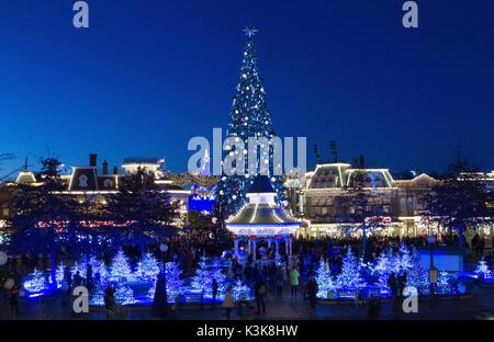 Christmas illuminations in Disneyland Paris Marne La Vallee France - Stock Photo