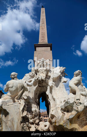 Italy Rome Piazza Navona Fountain of the four Rivers with Egyptian obelisk - Stock Photo