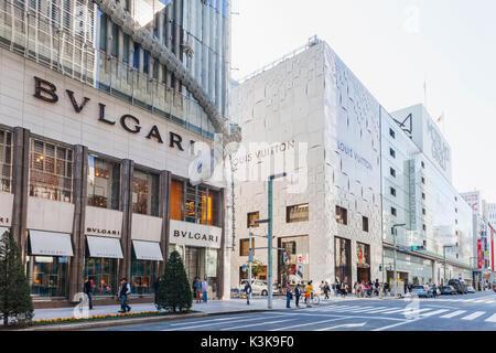 Japan, Hoshu, Tokyo, Ginza, Ginza Yonchome Intersection - Stock Photo