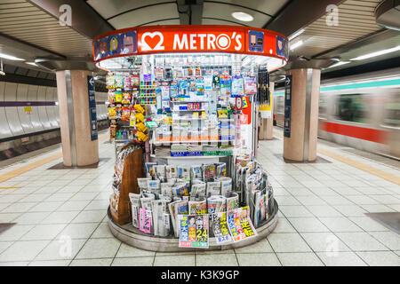 Japan, Hoshu, Tokyo, Subway Train Station Platform Kiosk - Stock Photo