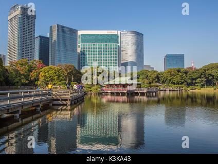 Japan, Tokyo City, Hama Rykiu Garden, Shimbashi Skyline - Stock Photo