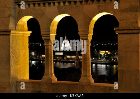 Hungary, Budapest, Overview of the Hungarian Parliament Building and the River Danube from Fisherman's Bastion, - Stock Photo