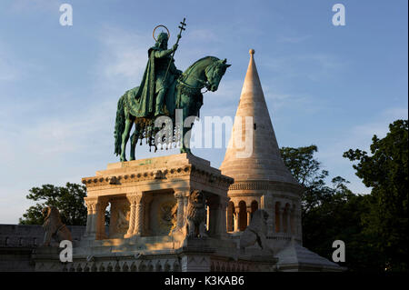 Hungary, Budapest, Fishermans Bastion with the equestrian Memorial of Saint Stephen King of Ungary, located in the - Stock Photo