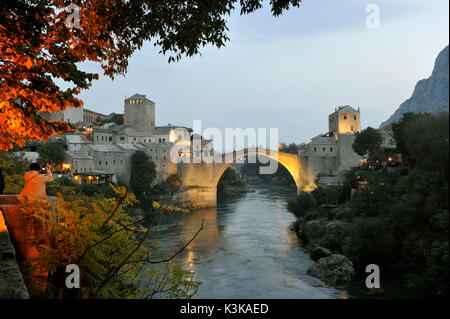 Bosnia and Herzegovina, Mostar, listed as World Heritage by UNESCO, Old Bridge (Stari most) - Stock Photo
