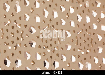 UAE, Dubai, Bur Dubai, Rulers Court Mosque, traditional Arabic patterns - Stock Photo