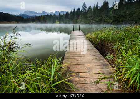 An old wooden jetty between reed in a small mountain lake, in the background fog and the Karwendelgebirge (mountains). - Stock Photo