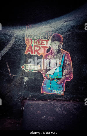 Poster and Street Art, Don´t understand Street Art, Will Smith, Prince of Bel Air, Manhatten, New York, USA - Stock Photo