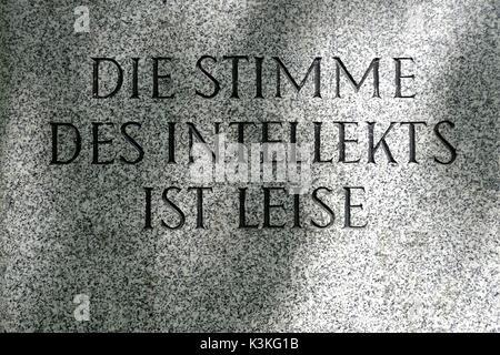 Europe, Austria, Vienna, capital, Sigmund-Freud-Park, memorial ston, inscription, quotation - Stock Photo