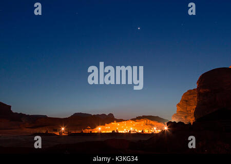 Bedouin camp in the Wadi Rum desert, Jordan, at night - Stock Photo