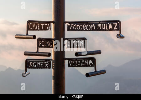 Europe, Italy, Trentino, Trento. Original pole with the names of the peaks placed on the Col Margherita, Passo San - Stock Photo