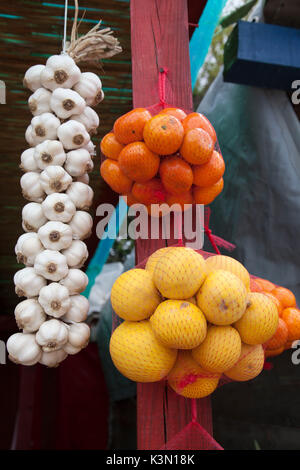 Local products, fruits and vegetables on sale in the market along the road near Komin, Croatia - Stock Photo