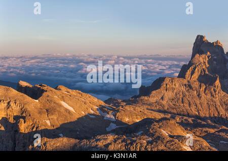 Europe, Italy, Trentino, Trento. Cimon della Pala, Rosetta and sea of clouds in the backgroud, Pale di San Martino, - Stock Photo