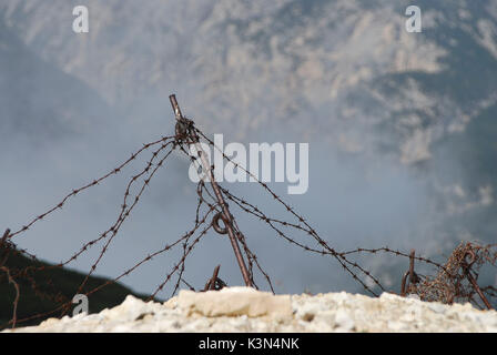 Dolomites, Veneto, Italy. Barbed wire at the Monte Piana - Stock Photo