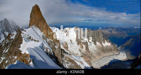 Dente del gigante from Aiguille de Rochefort, Mont Blanc (Monte Bianco) massif, Aosta Valley, Italy, Europe - Stock Photo