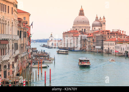 Europe, Italy, Veneto, Venice. Iconic view of the Gran Canal from the Accademia bridge - Stock Photo