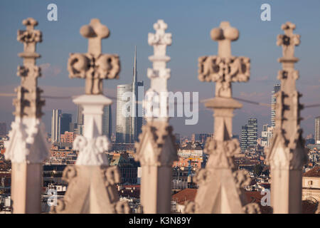 Milan, Lombardy, Italy. Unicredit tower views from the cathedral - Stock Photo