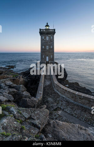 Kermorvan lighthouse. Le Conquet, Finistère, Brittany, France. - Stock Photo