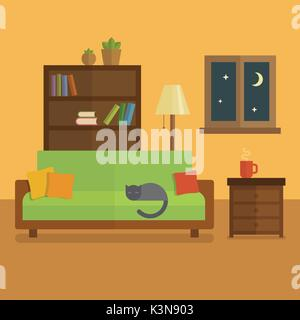 Cozy room interior flat illustration. Bookcase with books and plants, cat sleeping on a green sofa, cup of tea on - Stock Photo