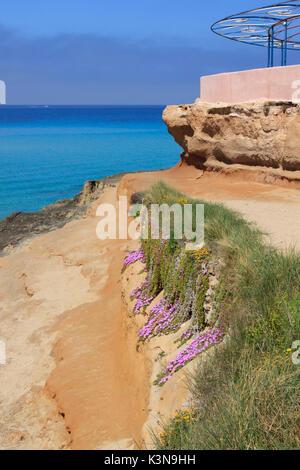 Beach of Cala Comte in Ibiza, Spain - Stock Photo