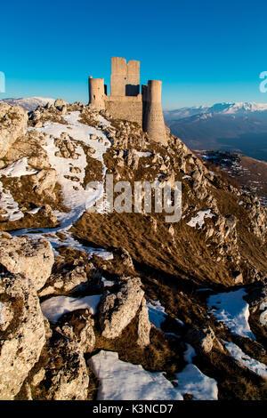 Europe, Italy, Abruzzo. Rocca Calascio at blu hour - Stock Photo