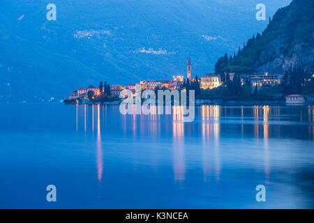 Varenna's town reflexes at blue hour - Como lake - Lombardy - Stock Photo