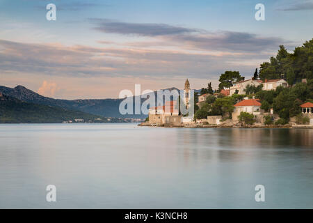 The Monastery Sveti Nikola at sunset (Korcula, Korcula Island, Dubrovnik-Neretva county, Dalmatia region, Croatia, - Stock Photo