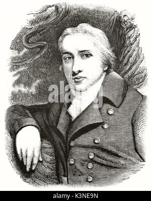 Old engraved bust portrait of Edward Jenner (1749 - 1823) English physician and scientist the pioneer of the vaccine - Stock Photo