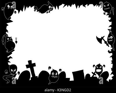 Hand drawing cartoon Halloween frame with cute ghost silhouettes and graveyard. - Stock Photo