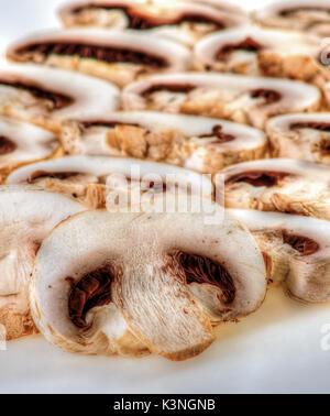 Fresh sliced mushrooms for food ingredient - Stock Photo