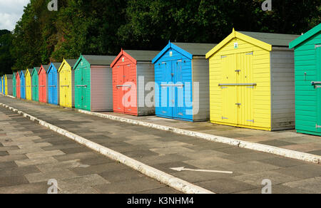 Beach huts at Coryton's Cove, Dawlish. - Stock Photo