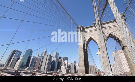 Brooklyn bridge ,wide range low angle with good weather - Stock Photo