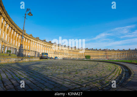 Bath Royal Crescent UK, view of the Royal Crescent - a row of 30 Georgian terraced houses laid out in a sweeping - Stock Photo