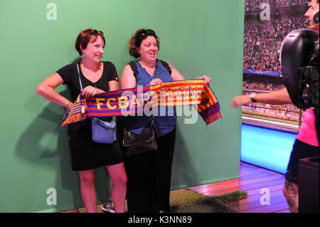 Photoshoot at the FC Barcelona Museum and Nou camp stadium tour. - Stock Photo