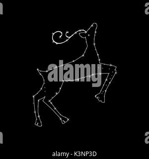 Constellation in the form of a deer. constellation in the form of a deer. Vector illustration on a black background - Stock Photo