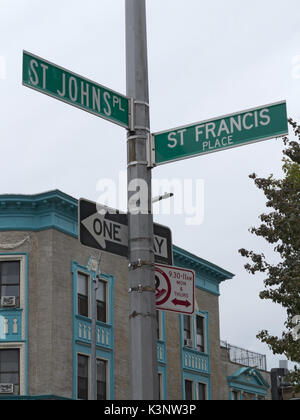 Brooklyn, USA. 2nd September, 2017. Streets named after saints in the Crown Heights section of Brooklyn, NY, USA. - Stock Photo
