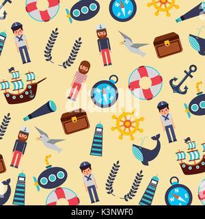 set of nautical marine symbols seamless pattern icons - Stock Photo